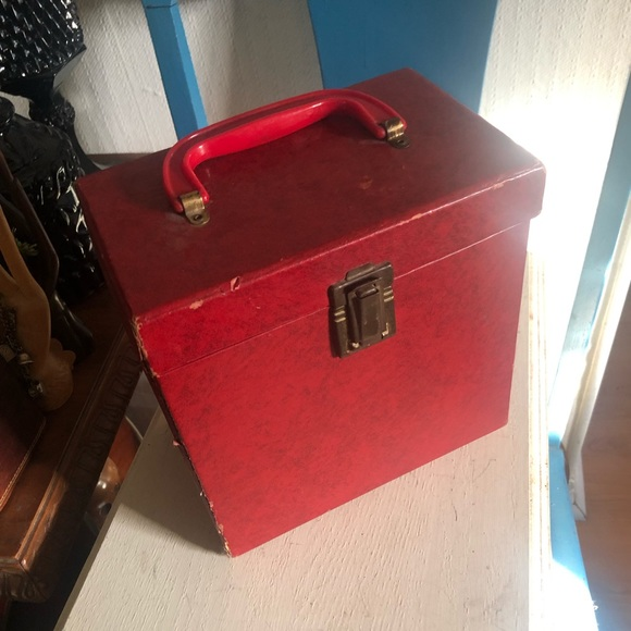 Vintage Red 45 Vinyl Record Holder Carrying Case